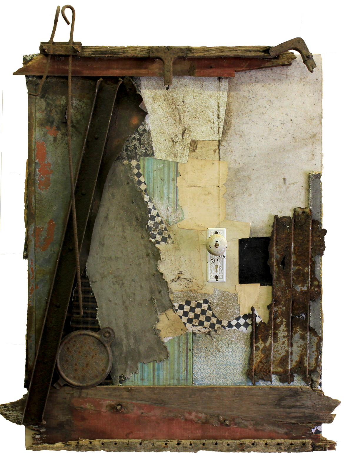 Original Mixed Media Vintage Industrial Art Assemblage By