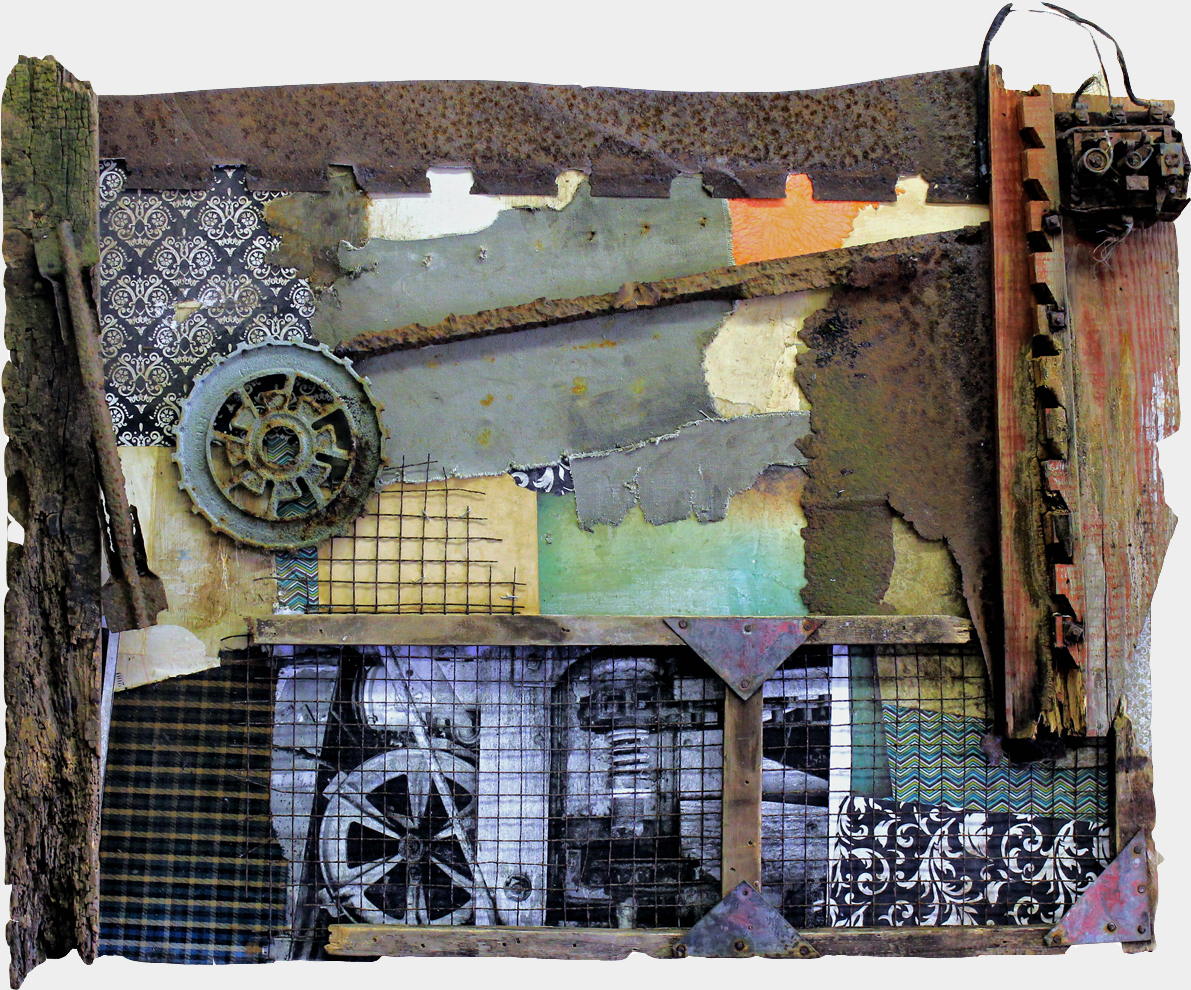 vintage industrial art, mixed media vintage industrial abstract assemblage painting, michel keck
